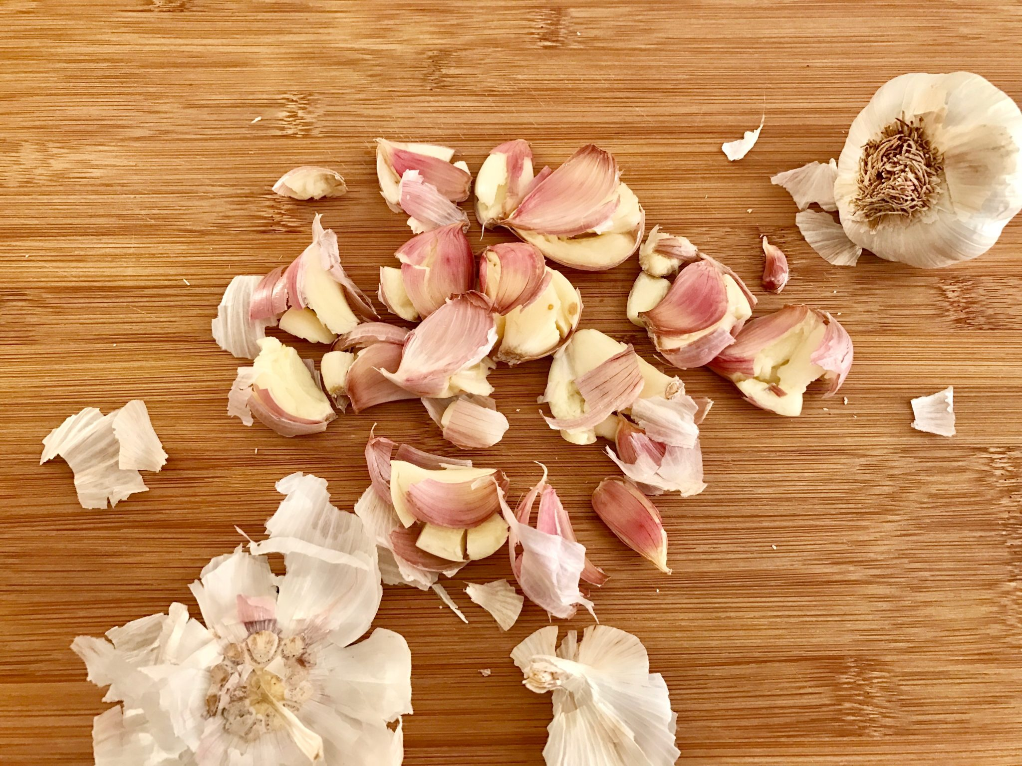 Smashed garlic is easier to peel, and you can get a full flavor from it too!