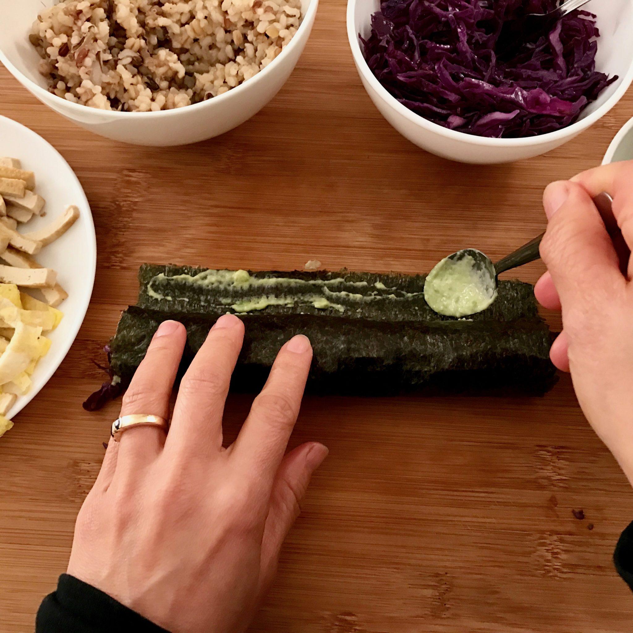 use mayonnaise & avocado paste to glue the seaweed