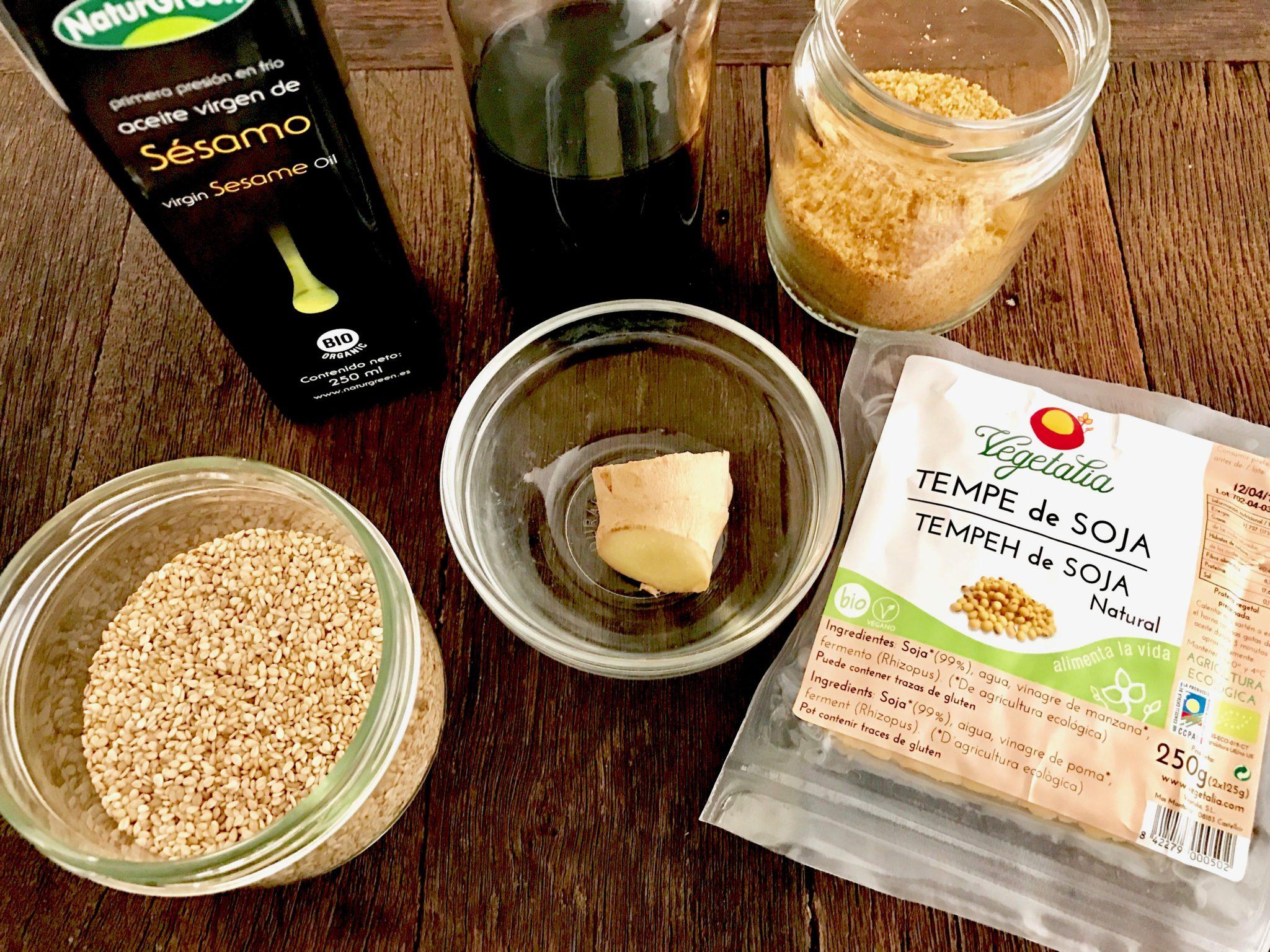 ingredients to make teriyaki tempeh