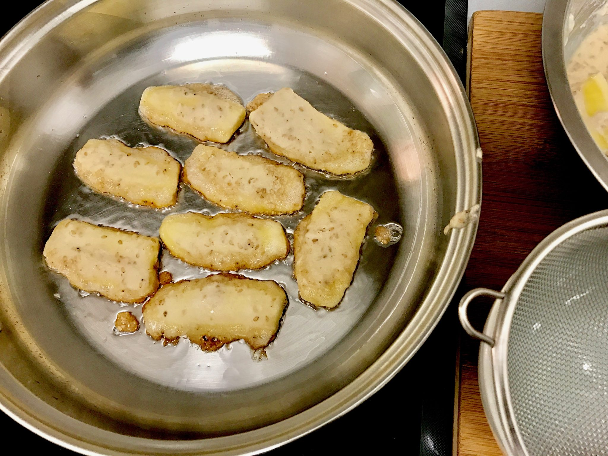 banana pieces in a fring pan