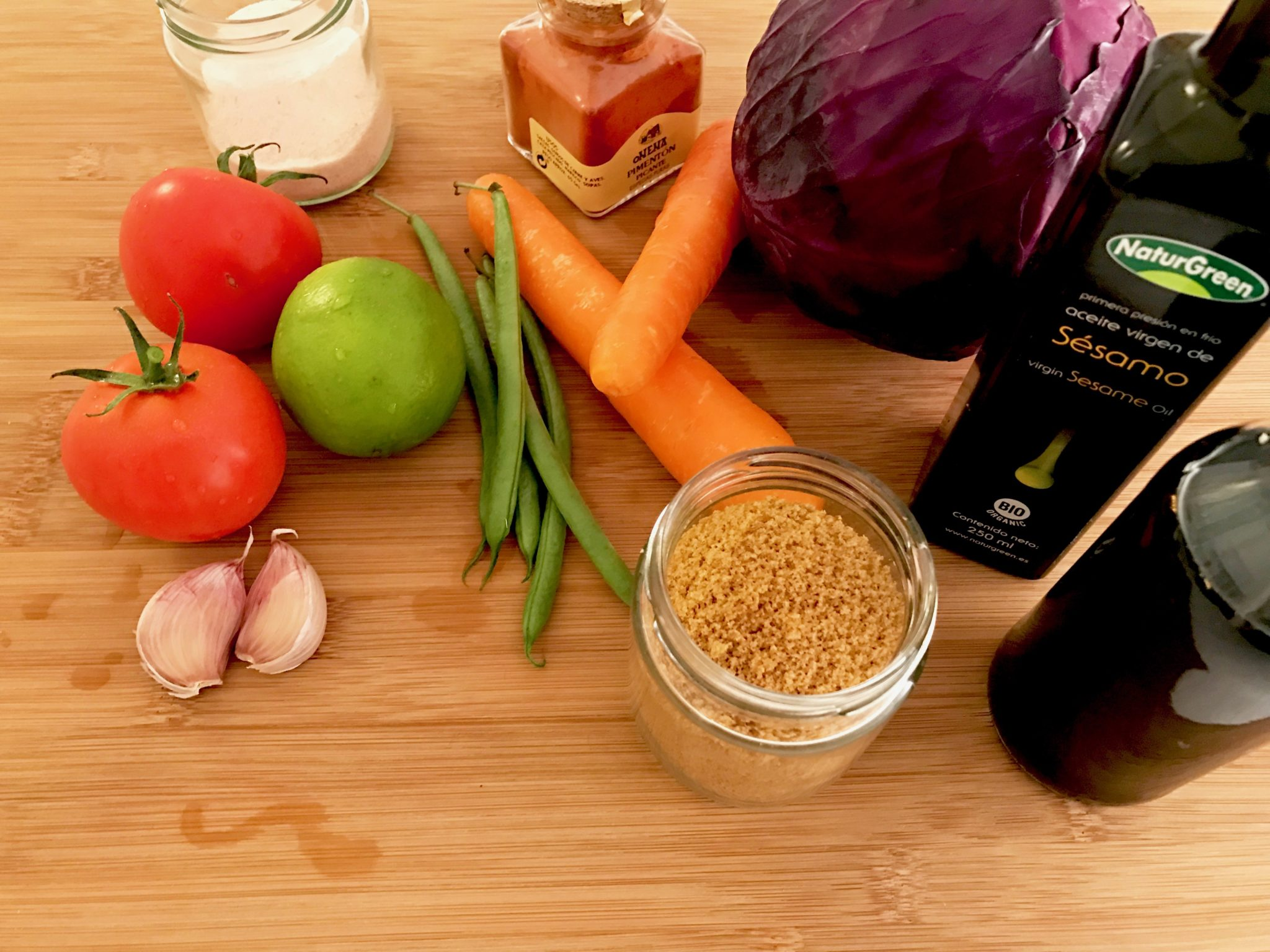 main ingredients for vegan som tam