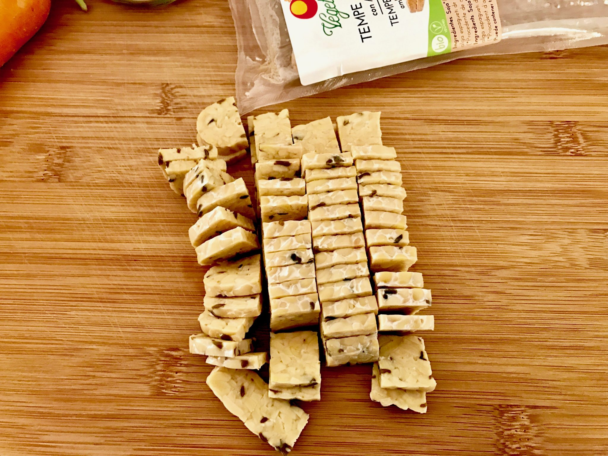 cut tempeh into thin pieces