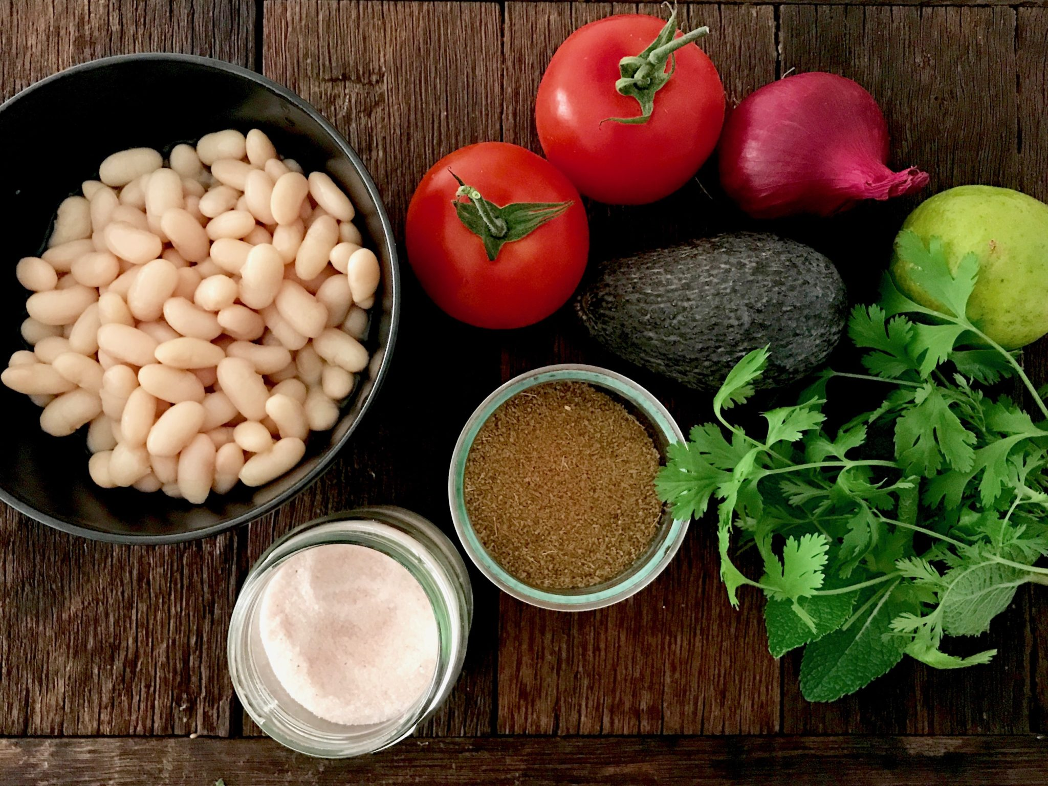 the ingredients for fermented bean salsa