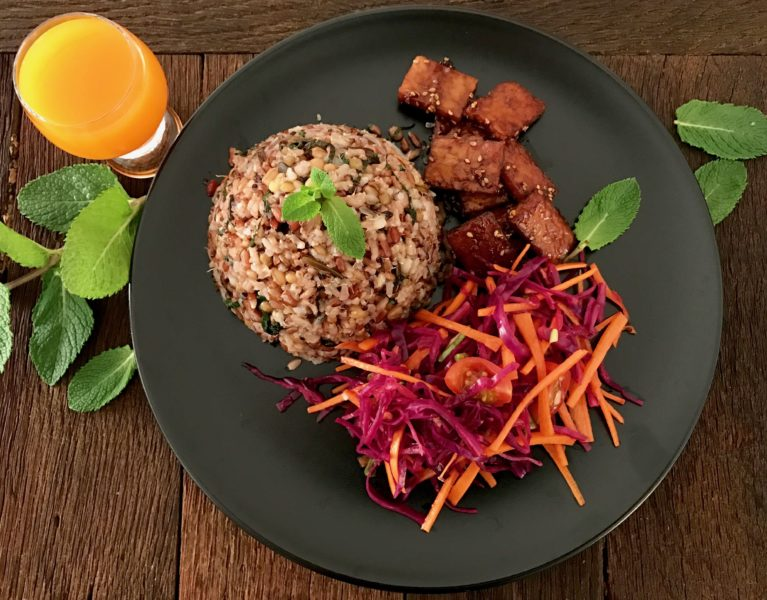 enjoy it with somtam and teriyaki tempeh!