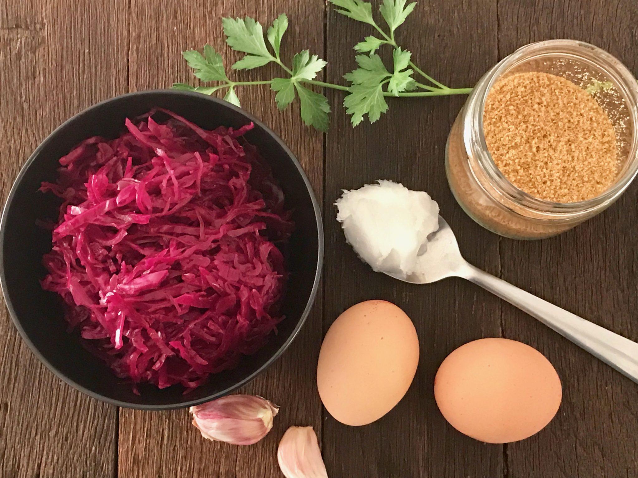 ingredients for red cabbage sauerkraut salad