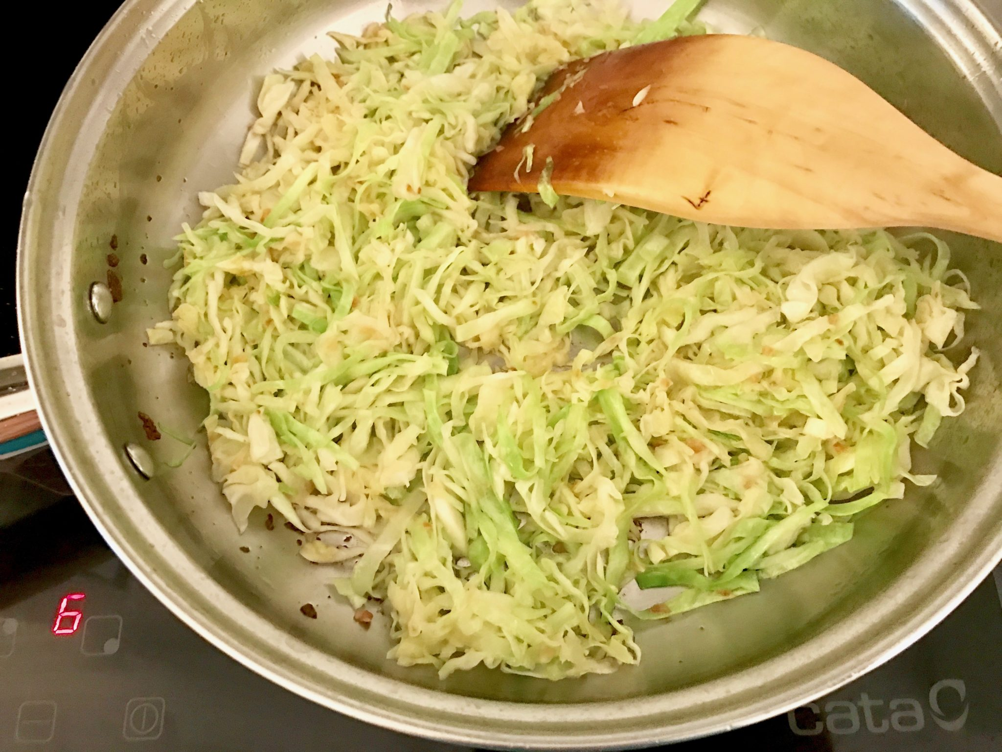 frying the cabbage