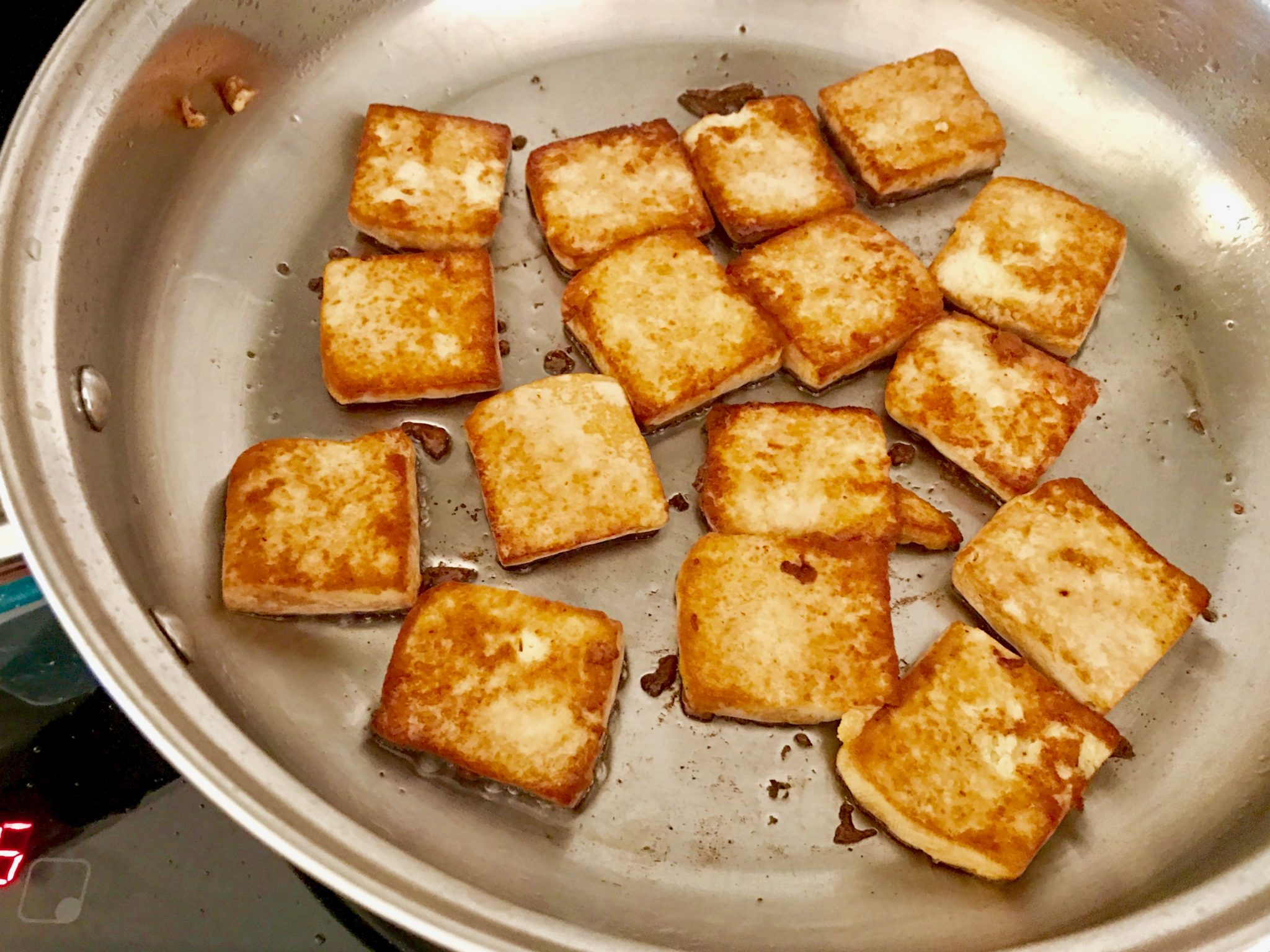 frying the tofu
