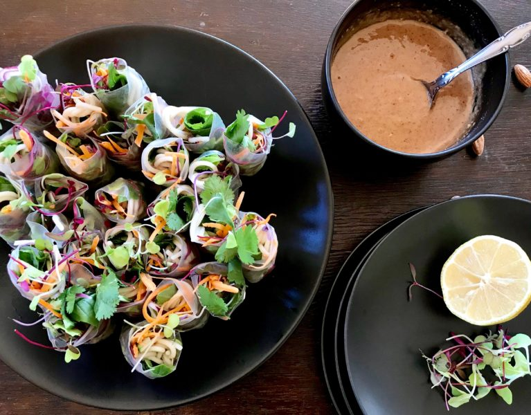 salad rolls with almond butter sauce